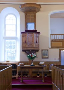 Central high pulpit originally built for Thomas Nevin (Down Museum photograph)