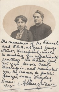 A postcard sent to members of Great George Street Congregational Chapel, Liverpool,  serving at the front. Featuring a picture of the minister and his wife and a written message. P.S.A. stands for Pleasant Sunday Afternoon, a popular form of church entertainment at the time