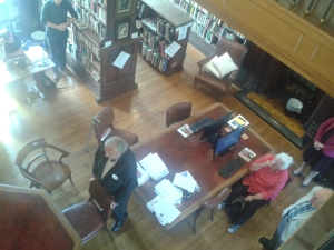 Richard Price addresses those present in the library. Emeritus Editor Rev Peter and Sheila Godfrey can be seen in the corner of the shot