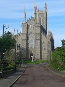 The view of the new cross in front of the cathedral
