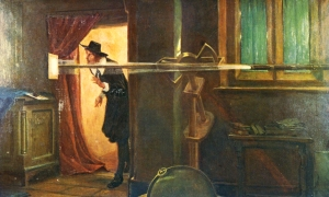 A Victorian depiction of Jeremiah Horrocks observing the transit of Venus