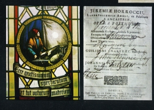 The staied glass window at Hoole Church and the title page of Horrocks' posthumous work
