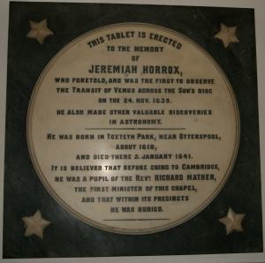The Memorial to Jeremiah Horrocks in the Ancient Chapel of Toxteth