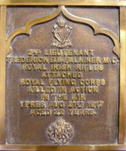 Memorial to 2nd Lieut. Frederick E.B. Falkiner MC in Dublin Unitarian Church. Killed serving with the Royal Flying Corps near Ypres August 1917 aged 22. (With thanks to P. Spain for photo)