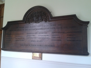 Willaston School Memorial - now situated in Harris Manchester College, Oxford