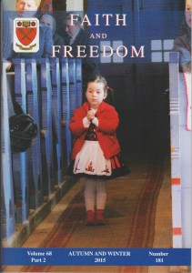 The cover of the Autumn and Winter 2015 issue of 'Faith and Freedom', Vol. 68 Part 2, Number 181