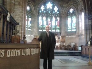 Rev Phil Waldron in the chancel
