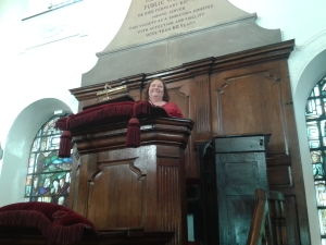 Rev Brenda Catherall in the pulpit
