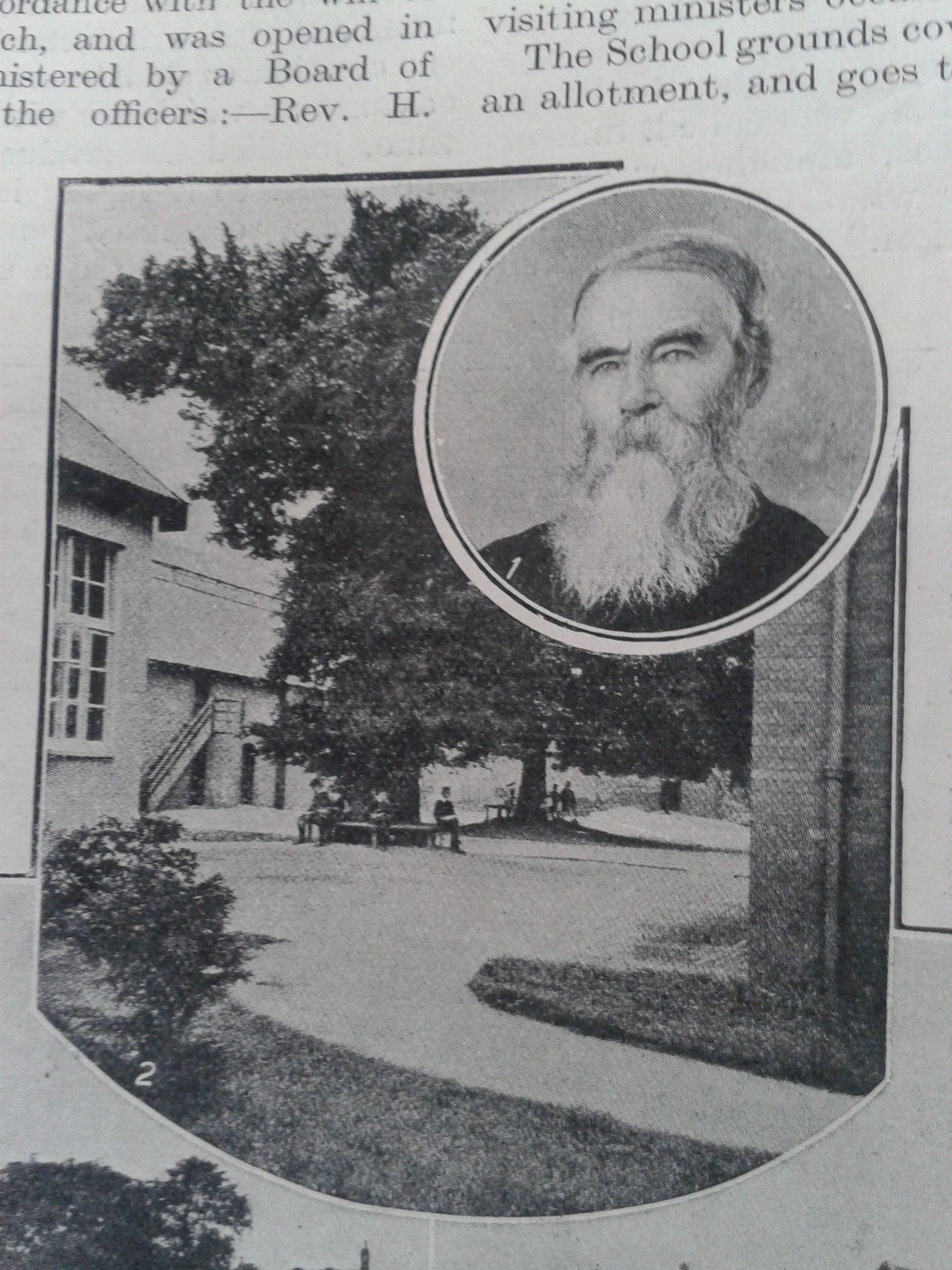 Founder philip barker and a view of the school from the christian life 1913