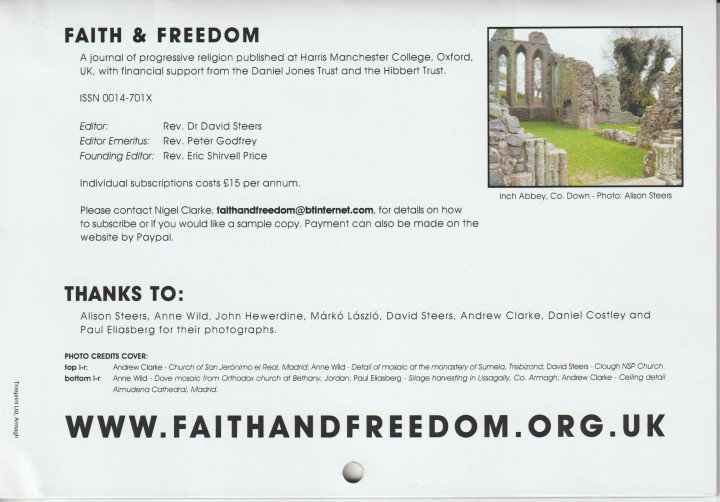 Faith and Freedom Calendar Back Cover 2018