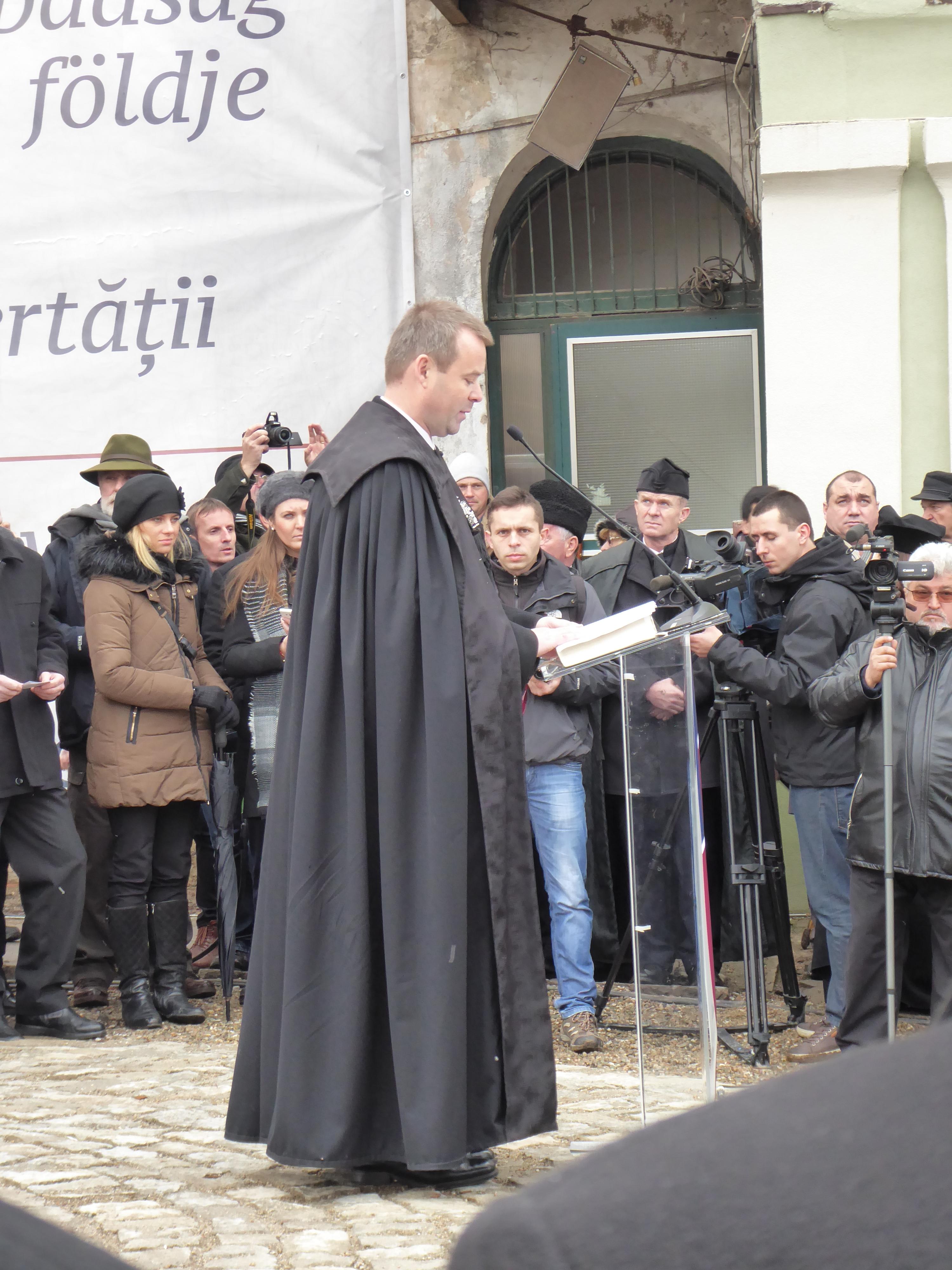 Rev David Gyero deputy bishop of the Hungarian Unitarian Church delivers the homily