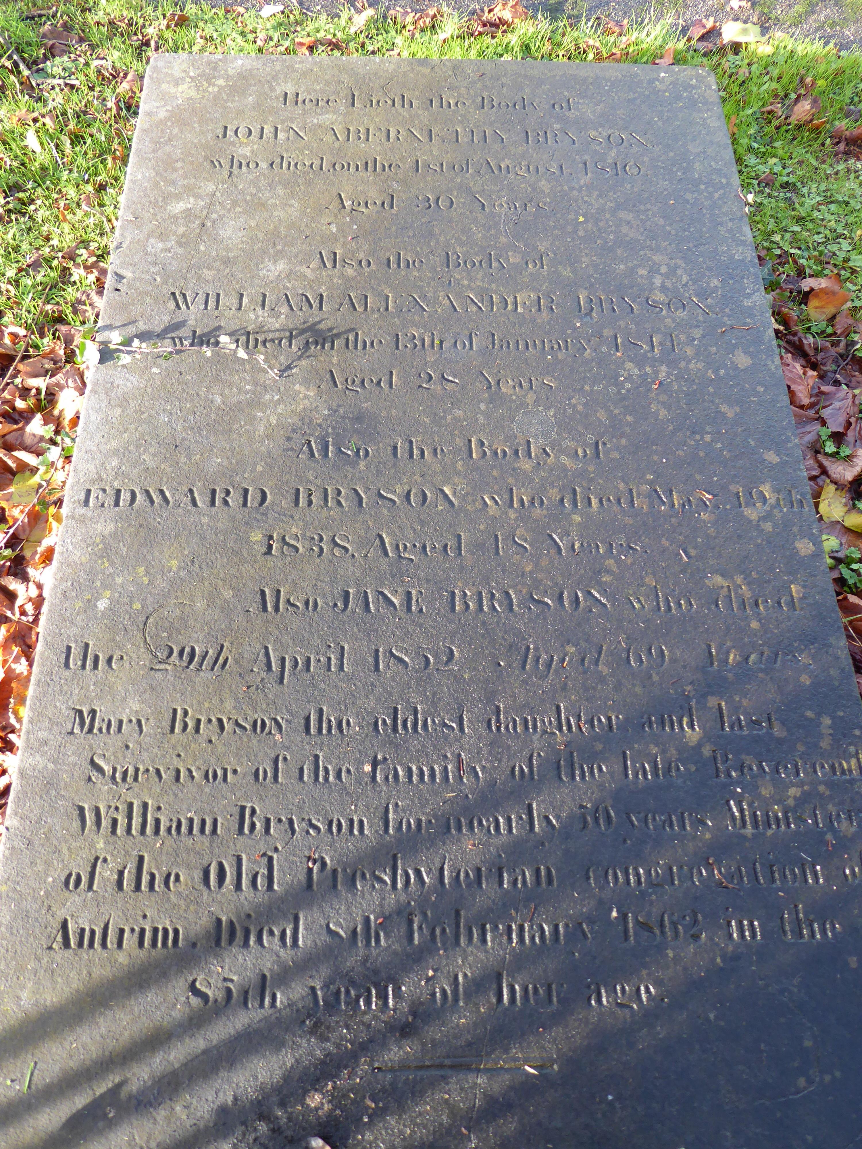 Antrim Bryson family tombstone