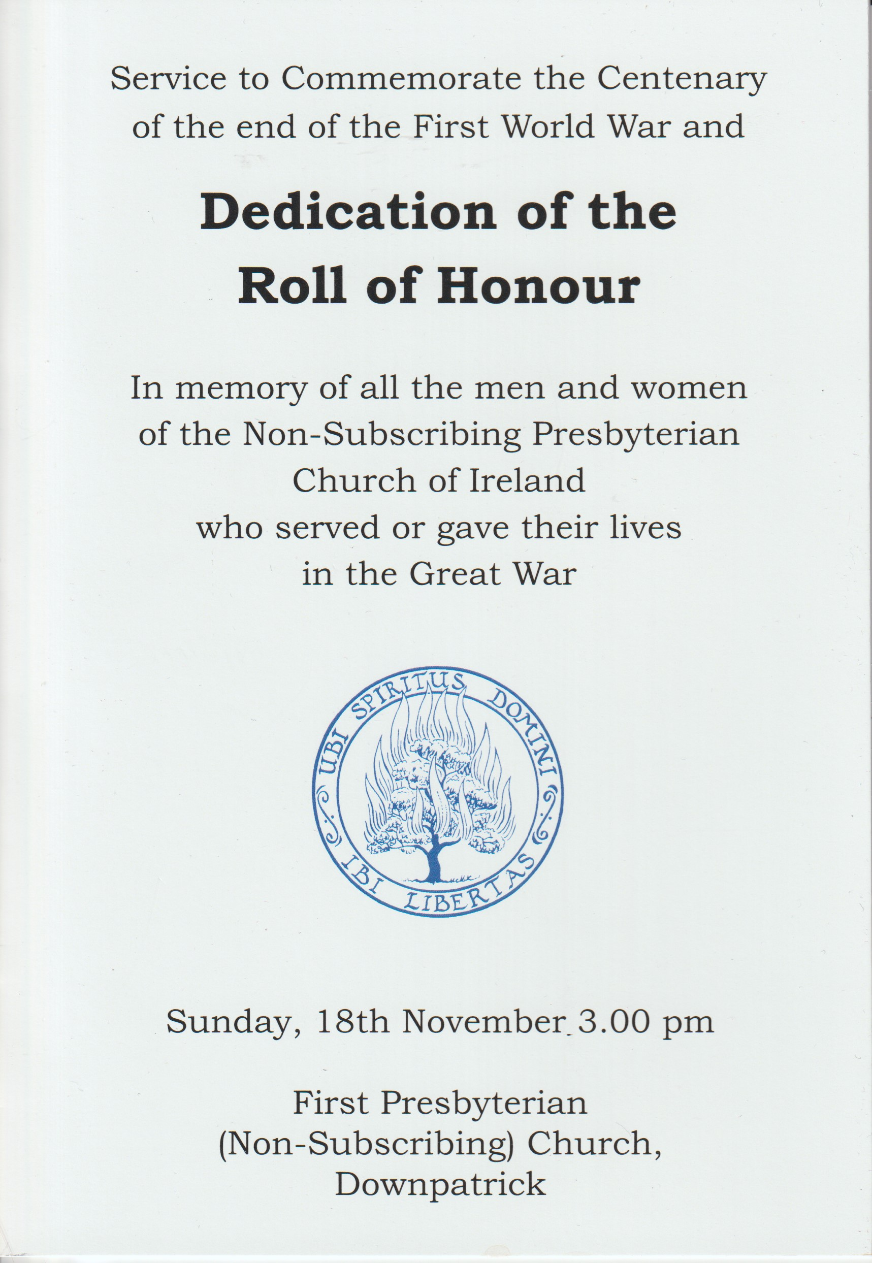 Dedication Downpatrick Order of Service