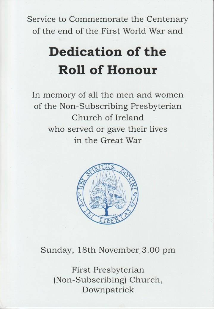 Dedication Downpatrick Order of Service