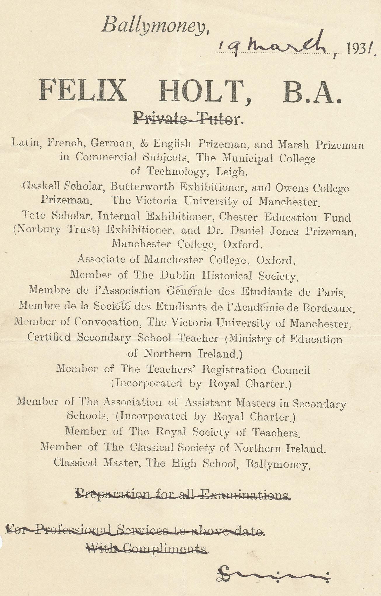 Felix Holt tutor